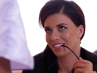 Dark Haired All Girl Got Tongued On A Desk At Office